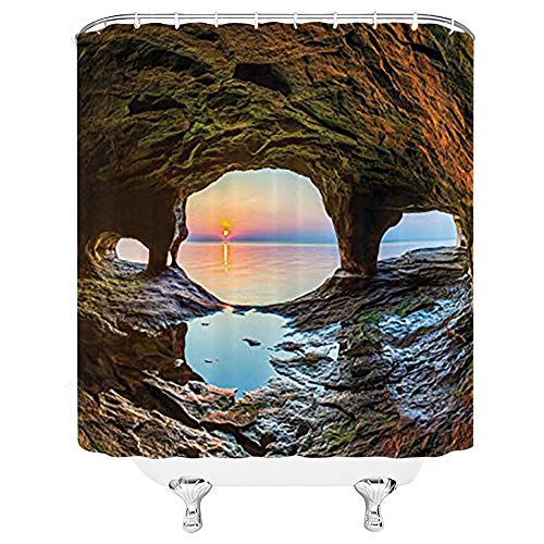 LIVEFUN Natural Cave Decorations Shower Curtain Set, Horizon View from Fairy Mossy Invisible Big Grotto by The Sea Up Rocks Photo, Bathroom Accessories,Green Blue