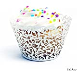 Yeshow® 50pcs Filigree Vine Cupcake Wrappers Wraps cupcake liners Cases Wedding Birthday Decorations(snow-white)