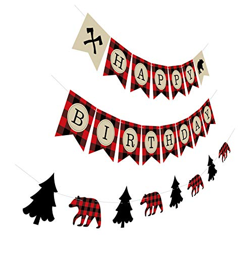 Silvima Lumberjack Birthday Banner with Garland, Camping Woodland Bear Woodsman Bday Party Sign Decorations