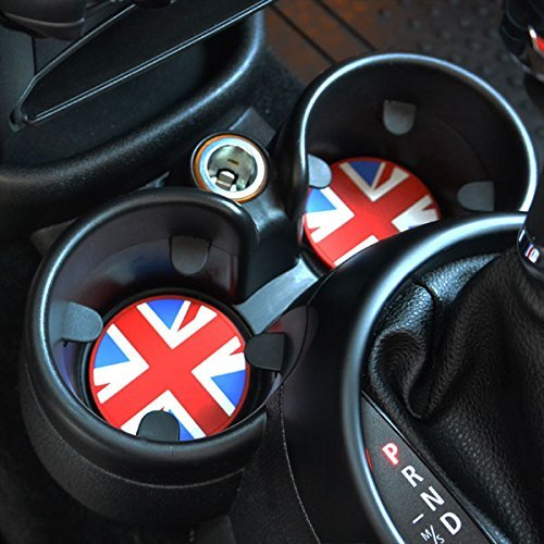 UNIONJACK - MINI Cooper CUP HOLDER Badge with Pull Out Tab (73mm) - 2PC SET / FITS R55, R56, R57, R58, R59, R60, R61 and all S models