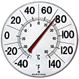 "Marathon Housewares BA03002F Large 12"" Institutional Indoor/Outdoor Thermometer - White"