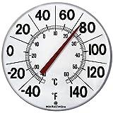 Marathon Housewares BA03002F Large 12'' Institutional Indoor/Outdoor Thermometer - White