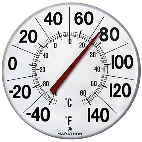 "Marathon Large 12""Institutional Indoor/Outdoor Thermometer (White) - BA030002F"