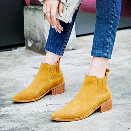 Leather Scarpe Inverno Autunno Heel Tide New Casual E Ladies Rounds GTYW Da Boots Da Small Yellowvelvet Stivali Donna Donna Donna Heels npOggzxPTC