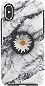 Otter + Pop for iPhone X and XS: OtterBox Symmetry Series Case with PopSockets Swappable PopTop - White Marble and White Daisy