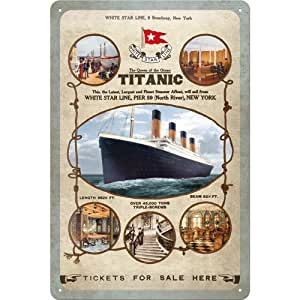 Sign-Unique - Placa metálica (30 x 20 cm), diseño del cartel del viaje del R.M.S. Titanic