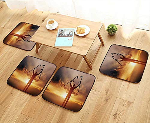 Jiahonghome Universal Chair Cushions A Disabled Man Raising his Crutches at Sunset Positive Concept of Cure