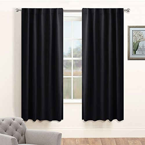Nursery Blackout Curtains Panel Set - PONY DANCE Thermal Insulated Window Drapes Back Tab / Rod Pocket Light Block Curtain Panels for Bedroom, 42-inch Wide by 63-inch Long, Black, 2 Pcs (Rod Pocket Panel Set)