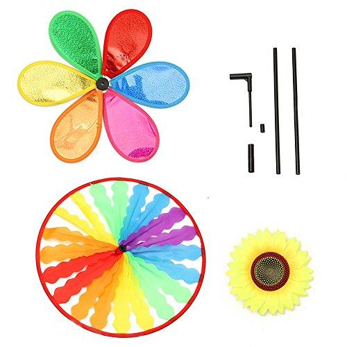 FOXDE TECH Sunflower Windmill Wind Spinner Rainbow Whirligig Wheel Home Lawn Yard Decor