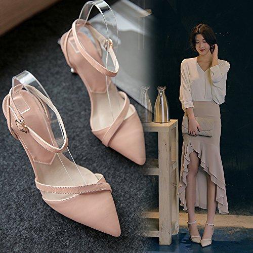 mujer HUAIHAIZ tacón Zapatos zapatos noche Pink de blanco de hembra Sandalias zapatos Tacones negro 7cm con dama 8qr8ERw