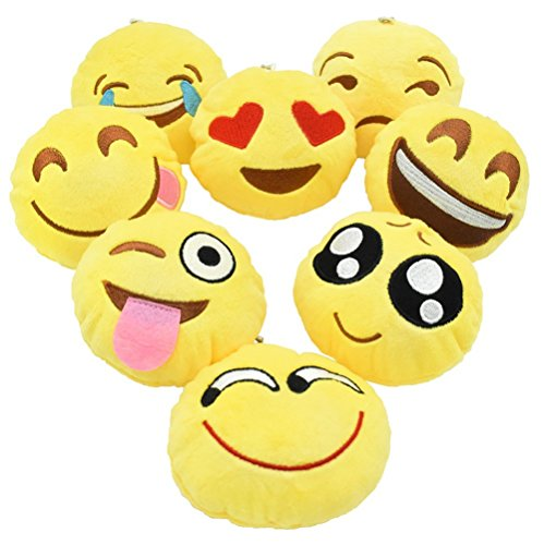 YINGGG Cute Emoji-Pop Plush Key Chain Pillow Kids Soft Toy Chrismas Tree Supplies Easter Gift for Kids Car Key Ring Pendant Decorations for Birthday Decoration Classroom Rewards Party Favor Set Of 8 -