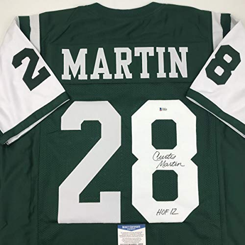 Autographed/Signed Curtis Martin HOF 12 New York Green Football Jersey Beckett BAS COA