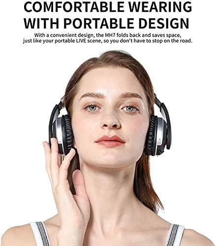 TYGYDLQ Bluetoothのヘッドセット、ワイヤレスヘッドセット、ノイズキャンセリングヘッドフォン、ステレオ低音折りたたみヘッドフォン、内蔵マイクヘッドセット、ソフトイヤーパッド - TV/コンピュータ/携帯電話用 (Color : D)
