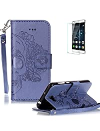 Huawei Y5 II / Huawei Y5 2 Case Free Screen Protector] Funyye Solid color Stylish Lanyard Strap Scratch Resistant Premium Magnetic Detachable PU Leather Wallet Style Cover with [Credit Card Holder Slots] Full Body protection Ultra Thin Protective Case Cover for Huawei Y5 II / Huawei Y5 2 -Skull Flower Blue
