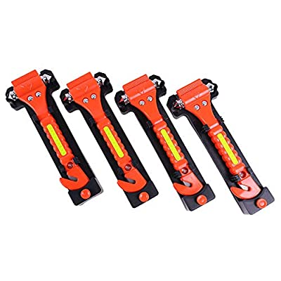 GoDeCho 4 Pack Car Emergency Escape Window Breaker and Seat Belt Cutter Hammer with Light Reflective Tape,Life Saving Survival Kit: Home Improvement