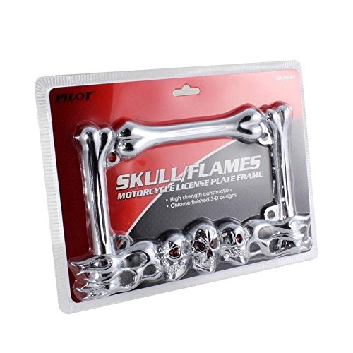 Motorcycle License Plate Frame Chromed Skull w// Red Painted Eyes Flames Bones Design Die Cast Zinc Triple chrome plating by Pilot Auto