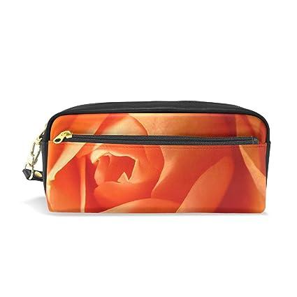 Estuche para lápices de color naranja romántico con rosas ...