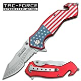 TAC FORCE Spring Assisted Folding Knife Green Half Serrated Dagger TF-842GN - hunting knives, military surplus - survival and camping gear