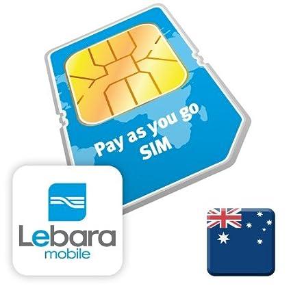 Amazon.com: Australia lebara móvil Tarjeta SIM de prepago $10