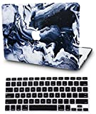 KEC MacBook Air 13 Inch Case with Keyboard Cover Plastic Hard Shell Rubberized A1369 / A1466 (Black Grey Marble)
