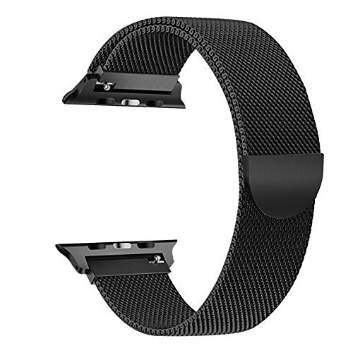 Band 42mm , Smooth Stainless Steel Strap Freely Fully Magnetic Closure Clasp Metal Strap Wrist Band Replacement Bracelet for IWatch Band Series 3 Series 2 Series 1 (black)