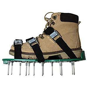 Lawn Aerator shoes manual tool - 20 Steel metal spikes and 3 straps on sandals - Easy to use, also for women and heavy duty gardening - Aerating helps seeder and air revitalizing the grass