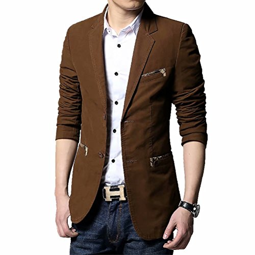 Men's Blazer Jacket Slim Fit One Button Sport Coat Notch Lapel Casual Business Solid Single Breasted Outwear (Coffee, X-Large)