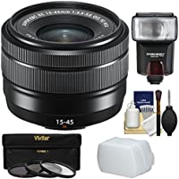 Fujifilm 15-45mm f/3.5-5.6 XC OIS Power Zoom Lens (Black) with 3 Filters + Flash + Diffuser + Kit
