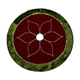 "Valery Madelyn 48"" Red and Green Tree Skirt with Traditional Christmas Flower Design"