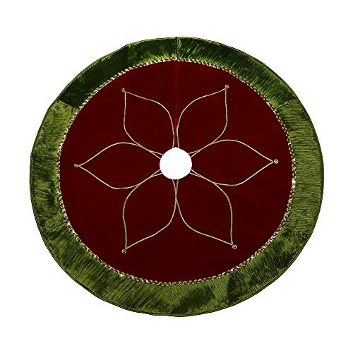 "Valery Madelyn 48"" Red and Unripe Tree Skirt with Traditional Christmas Flower Design"