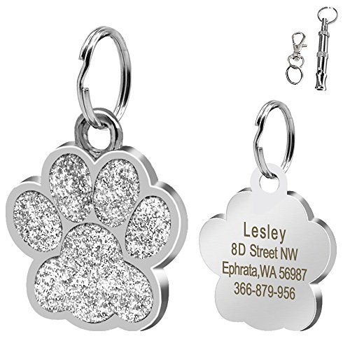(Didog Large Glitter Paw Print Custom Pet ID Tags for Medium Large Dogs and Cats,Personalized Egraving,Silver)
