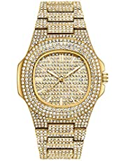 VAVC Men's Iced Out Watch.Men's Fashion Luxury Full Bling Iced-Out Diamond Crystal Quartz Wrist Hip-Hop Watch