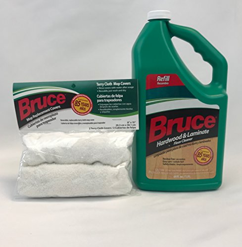Bruce Hardwood and Laminate FloorCleaner 64oz + Mop Cover Replacement (2 Pack) ...