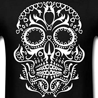 AIDANHAR New Tribal Skull Tattoo Day of The Dead Long-Sleeve T Shirt for Mens