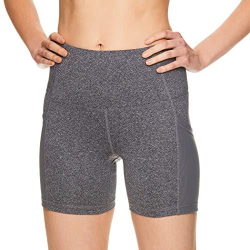 - Reebok Women's Compression Running Shorts - High Waisted Performance Workout Short - High Speed High Rise Charcoal Heather, Medium