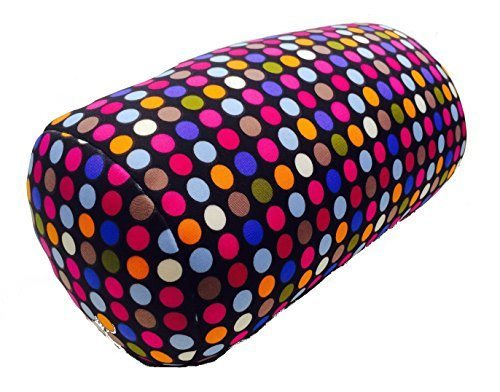 "Cushie Pillows 7"" x 12"" Microbead Bolster Squishy/Flexible/Hypoallergenic/Extremely Comfortable Roll Pillow – Small Dot Dot Bolster Pillow"