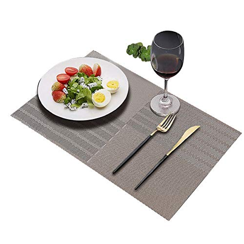 JEANNE PINK Table Mats Placemats Set of 6, Washable PVC Dining Place Mats Heat Resistant Kitchen Mats (Grey Stripe)