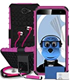 Vodafone Smart Platinum 7 Pink Shock Proof Rugged Hard Case with Viewing Stand - LCD Screen Protector - Retractable Mini Stylus Pen - 3.5mm ZIPPER Stereo Hands Free HeadPhones with Mic