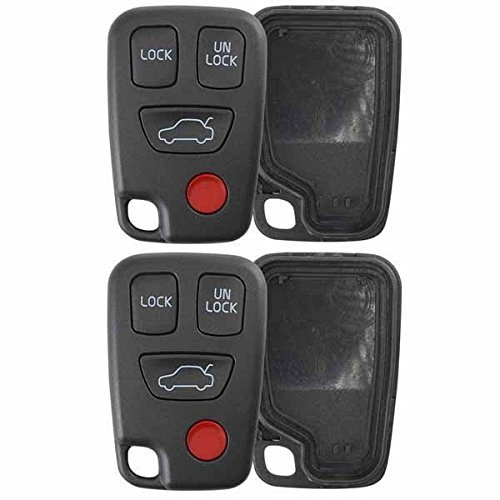 New Keyless Entry Remote Smart Key Case Shell 4 Buttons for Volvo S40 C70 V70 S70 V40 V90 Base Wagon 4-Door S90 Hyq1512j Fob No Chip (2pc)