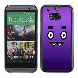 FECELL CITY // Duro Aluminio Pegatina PC Caso decorativo Funda Carcasa de Protección para HTC One M8 // Face Cartoon Eyes Character Purple