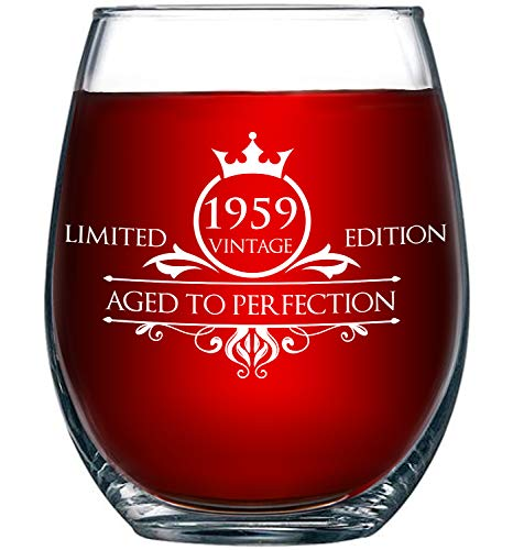 1959 60th Birthday Gifts for Women and Men Wine Glass - Funny Vintage Aged To Perfection - Anniversary Gift Ideas for Mom Dad Husband Wife - 60 Year Old Party Supplies Decorations for Him, Her - 15oz -