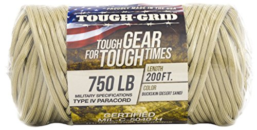 TOUGH-GRID 750lb Buckskin (Desert Sand) Paracord/Parachute Cord - Genuine Mil Spec Type IV 750lb Paracord Used by The US Military (MIl-C-5040-H) - 100% Nylon - Made in The USA. 100Ft. - Buckskin by TOUGH-GRID (Image #8)