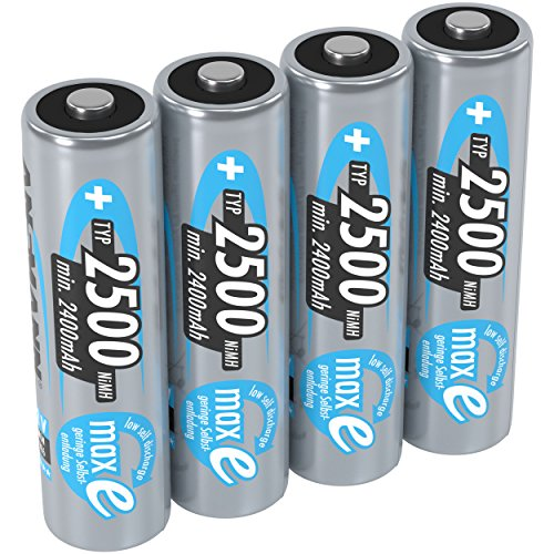 2500mah Aa Rechargeable Nimh Batteries - ANSMANN maxE Rechargeable AA Batteries 2500mAh Low Self Discharge (LSD) NiMH AA Battery pre-charged for remote, controller, flashlight etc. (4-Pack)