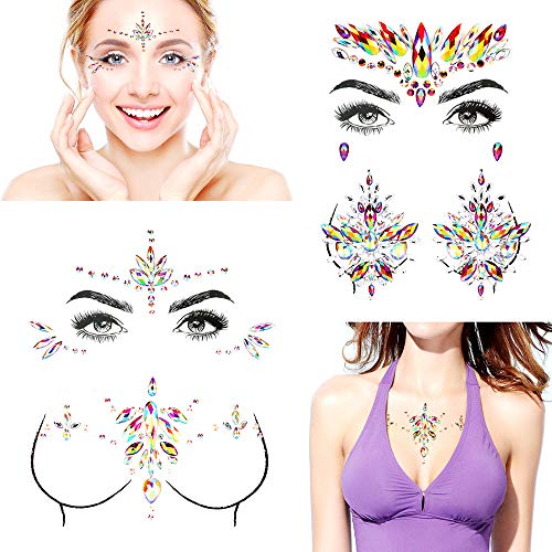 Bling Set of 4 Face Gems Stickers Breast Body Jewelry Stickers Crystal Nipple Tattoo Stickers for Festival Christmas Rhinestone - Body Bling Jewelry