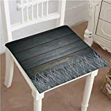Mikihome Classic Decorative Chair pad Seat Antique Old Planks American Style Western Rustic Wooden with Thick Growth of Grass Cushion with Memory Filling 32''x32''x2pcs