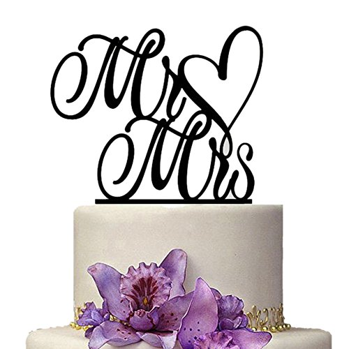 Aspire Acrylic Birthday Wedding Cake Topper Cake Decorating Supplies Wedding Accessories - Mr Mrs Heart,1 Pc