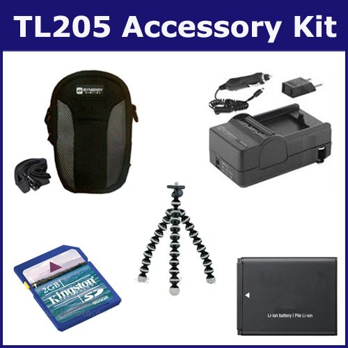Samsung TL205 Digital Camera Accessory Kit includes: KSD2GB Memory Card, SDC-22 Case, GP-10 Tripod, SDM-1516 Charger, SDBP70A Battery