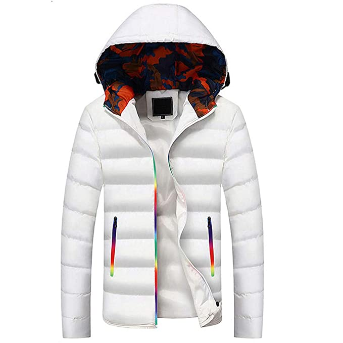 Manteau Homme Hivers Casual Chaude Manteau à Capuche Winter Changement de  Couleur Zip Blouson Outwear Top 7bb83e03fed7
