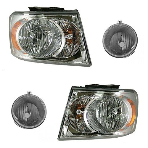 Headlight Fog Driving Light Lamp Kit LH RH Set of 4 for 07-09 Dodge Durango SUV