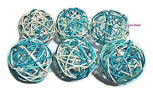 Thailand's Gifts : Natural Medium Wicker Balls With Two Tone Color Light Blue And White For DIY Vase And Bowl Filler Ornament, Decorative Spheres Balls, Perfect For Decoration And Party 3.5 inch 6 Pcs (Diy Lights Ball Rattan)